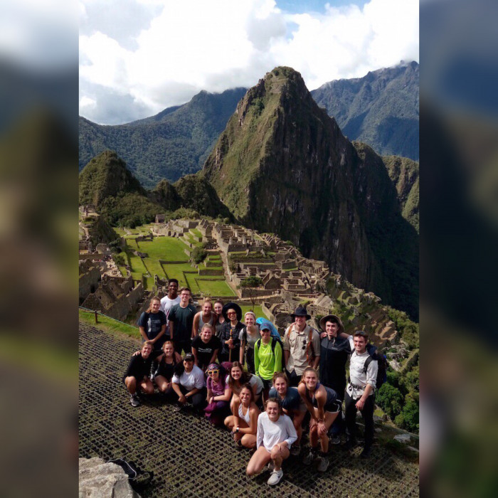 Students on a winter term trip in Peru