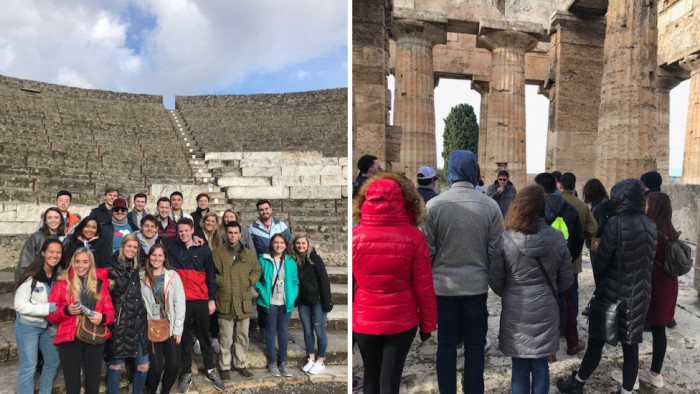 Students visit Roman locations in Italy.