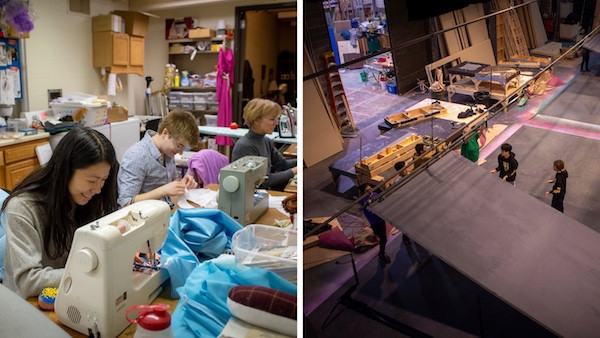 "Students sewing costumes and working on the set for the production of Massenet's ""Cinderella."""