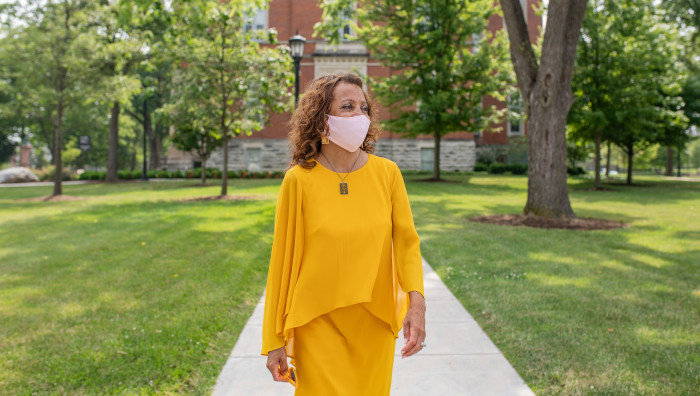 Dr. White walks campus on her first day as president