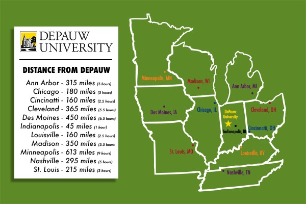 Driving distance to DePauw in the Midwest.