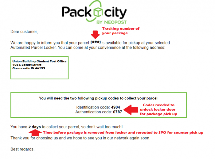 Sample email showing package is ready for pickup