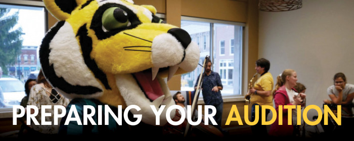 Preparing your audition banner with Tyler the Tiger in the background