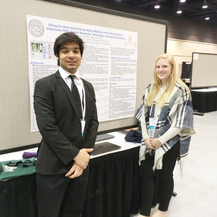 Raza Zaidi (left) and Isabel Freihofer (right) Present Poster in Seattle Research Competition (Spring 2017)