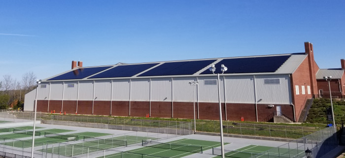 Solar array on  tennis and track center