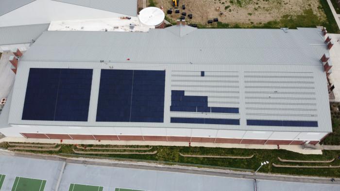 Solar array during installation