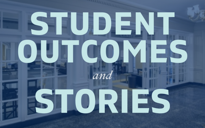 An image that says Student Outcomes and Stories and links to the page Student Outcomes and Stories