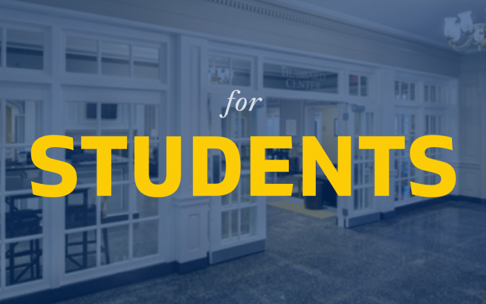 for Students banner with the Hubbard Center in the background