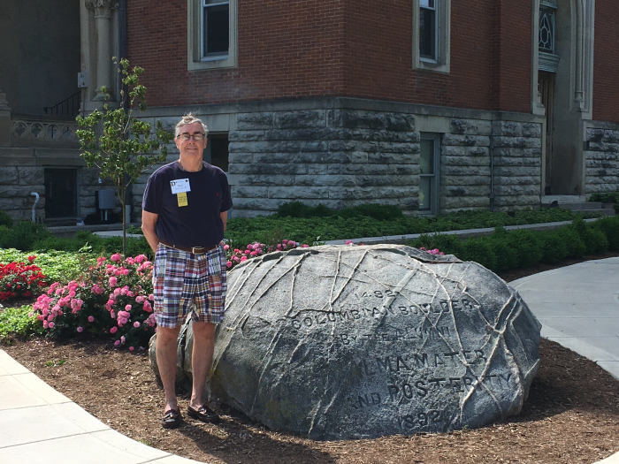 Russ Sylvester in front of the Boulder
