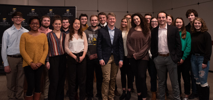 Ken Jennings with students