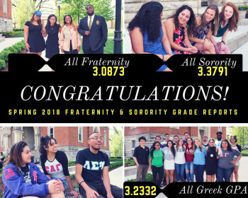 Congratulations banner for the spring 2018 fraternity & sorority grade reports