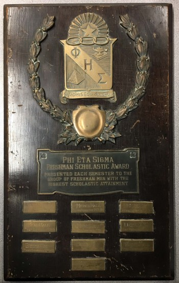 Phi Eta Sigma plaque