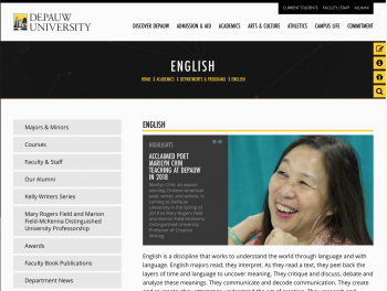 Screenshot of English Website with New Template