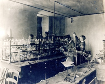 19th Century students in DePauw laboratory