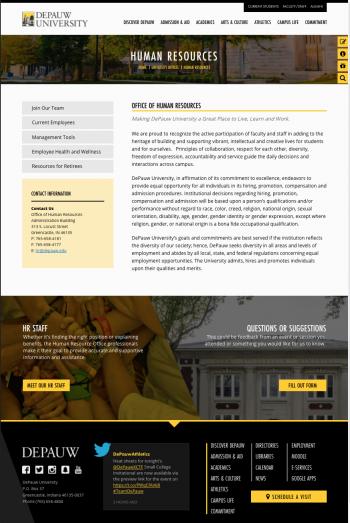 Screenshot of new HR Website Template