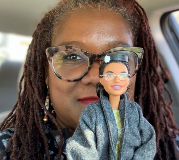 Deborarh Douglas with Rosa Parks Barbie doll