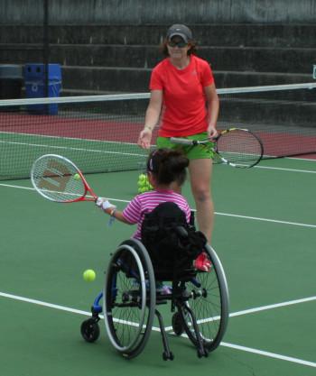 Erin Andrade coaches wheelchair tennis