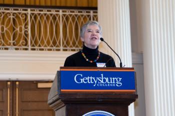 Kay Hoke speaking at Gettysburg College