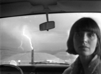 "Still from Lightning by Paul and Marlene Kos, b&w, mono, 4:3, ½"" open reel video, 1976 Image copyright of the artist, courtesy of Video Data Bank at the School of the Art Institute of Chicago."