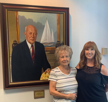 Background portrait of Robert C. McDermond with daughter and granddaughter in 2019