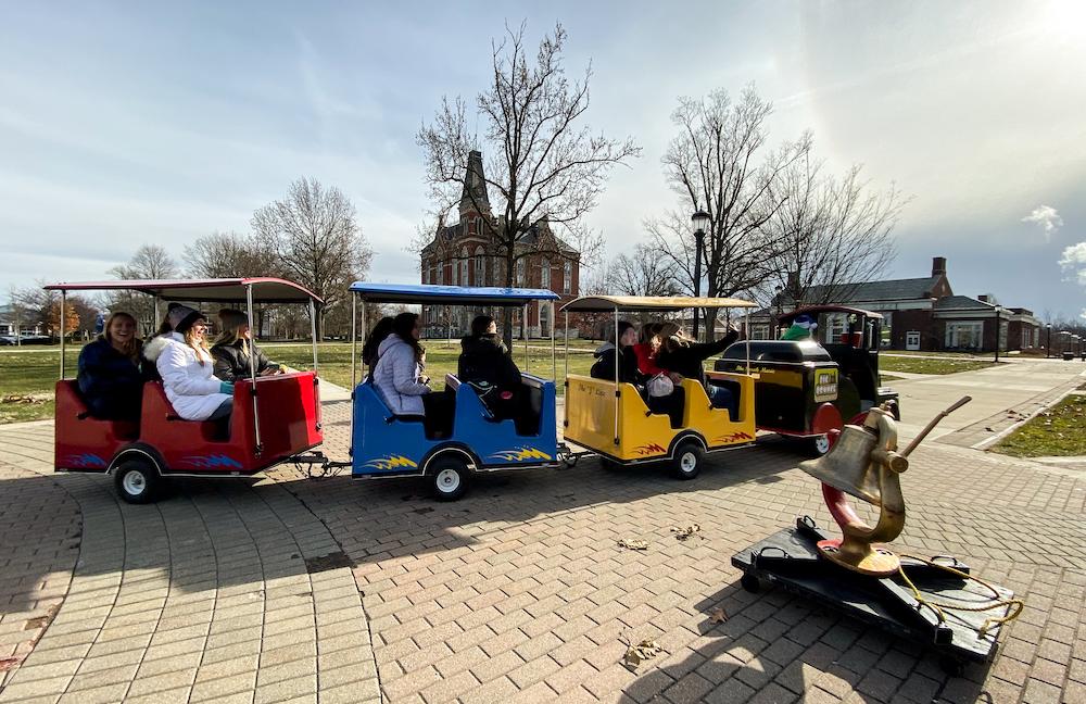 Students ride the Mini Monon