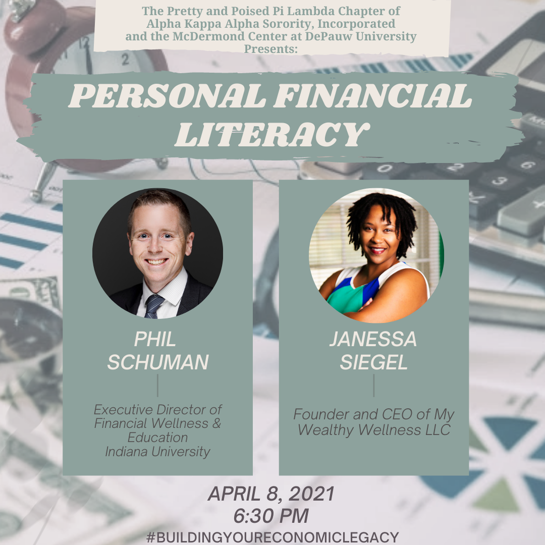 Flyer for Personal Financial Literacy presentation featuring Phil Schuman and Janessa Siegel