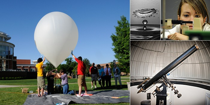 Compilation of physics photos including students experimenting with balloons, water, weights, and telescopes