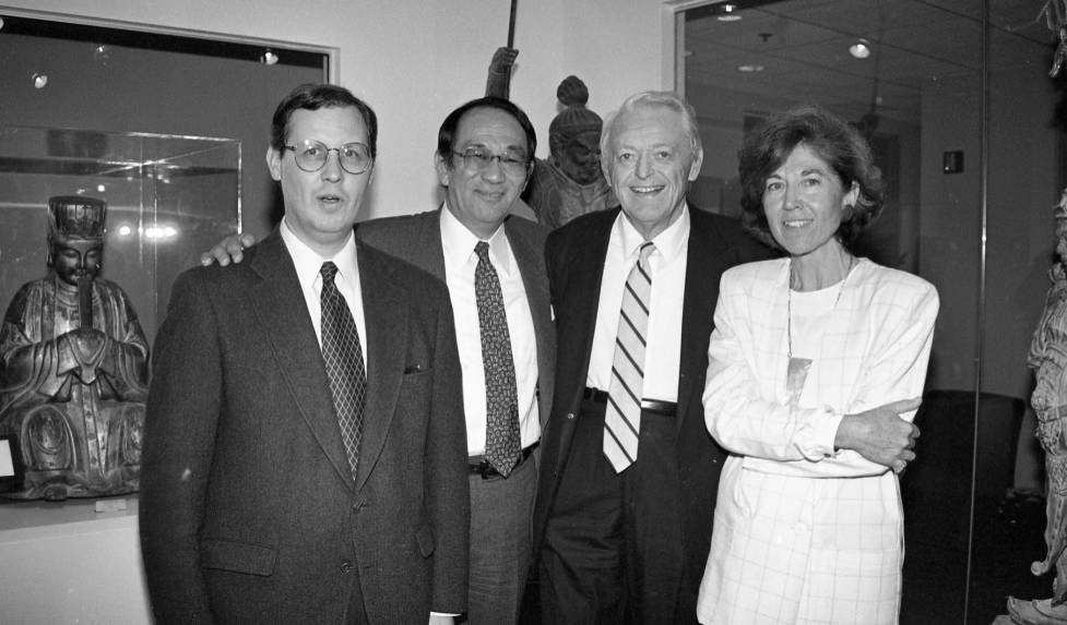 Paul B. Watt (Asian Studies Faculty); Hirotsugu 'Chuck' Iikubo '57; Arthur E. Klauser '45; Martha B. Opdahl (Curator of University Collections). Photograph from 1994 Asian Studies lecture and Iikubo Gallery dedication.