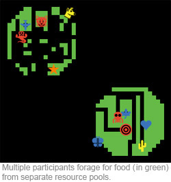 Graphic depicting multiple participants foraging for food from separate resource pools