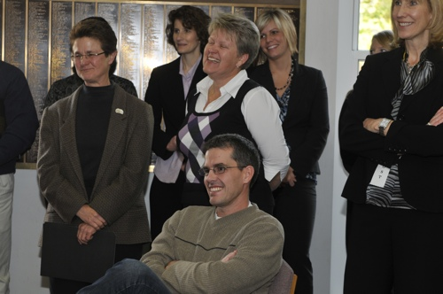 Dr. Matt Hertenstein, Dr. Terri Bonebright, and Dr. Pam Propsom looking on during the reception