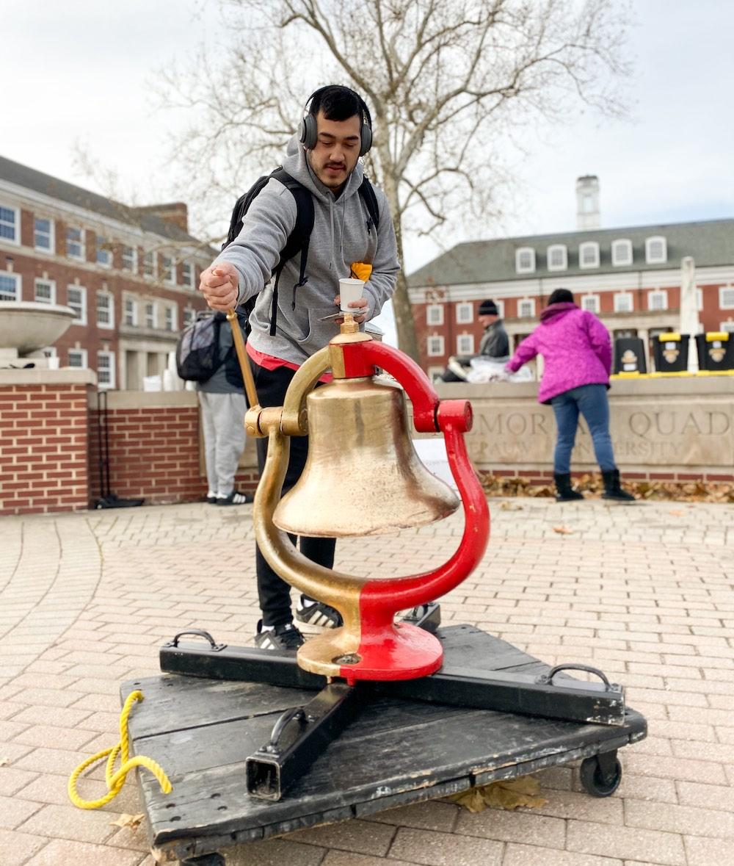 Student rings Monon Bell