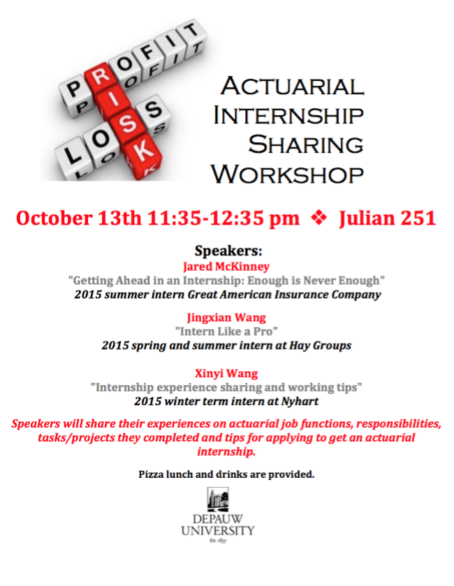 2015 Actuarial Internship Sharing Workshop poster