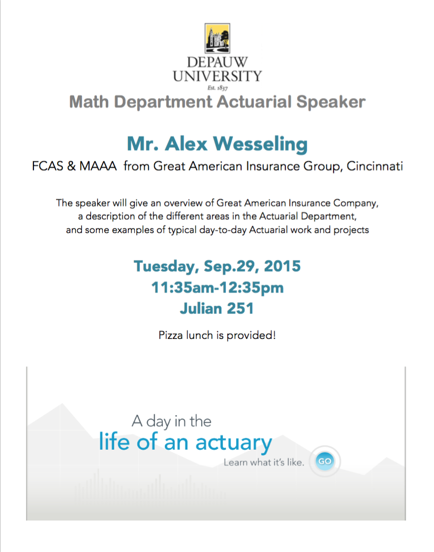 2015 Fall Actuary visit featuring Alex Wesseling poster