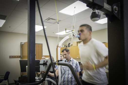 Experiment being conducted with student on a treadmill