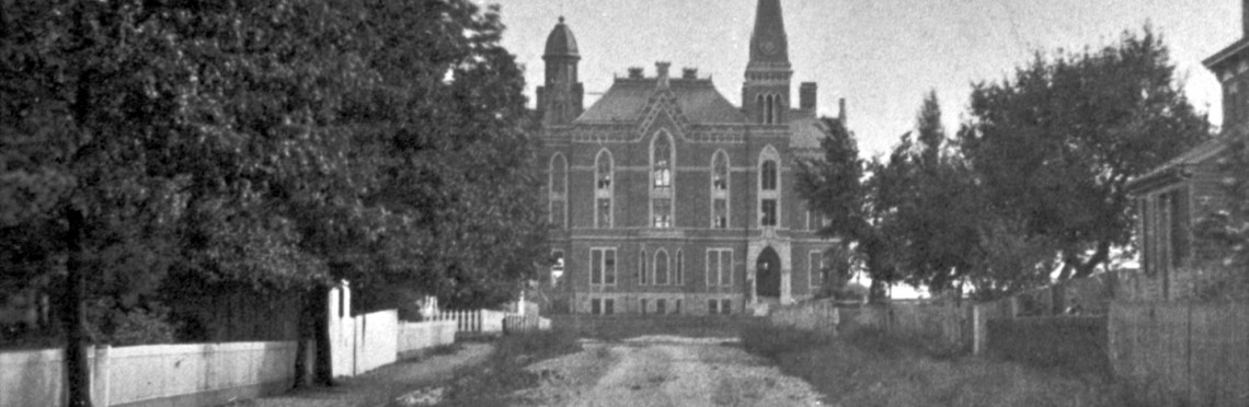 Black and white legacy photo of East College