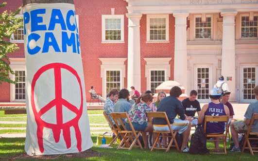 Students gathered out on the lawn for Peace Camp