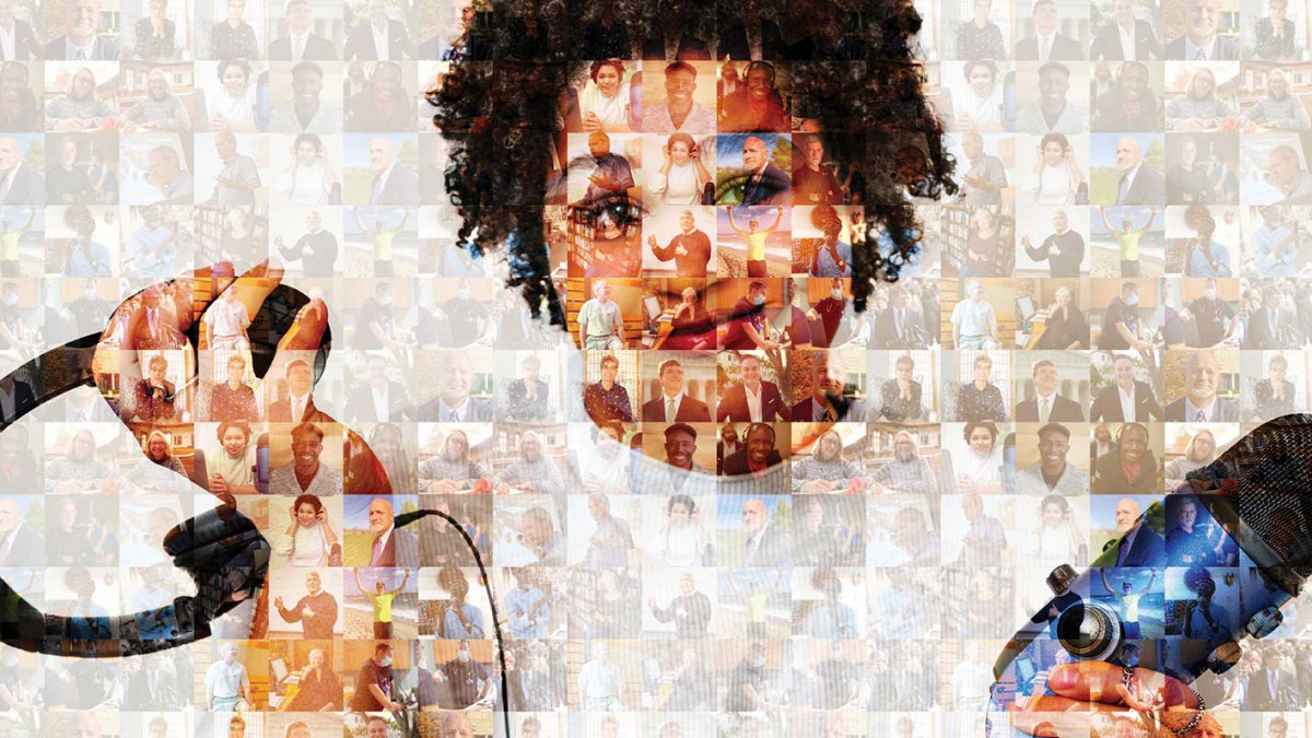 Mosaic of photos with Lauren Clark '11 holding a microphone and headphones overlaid