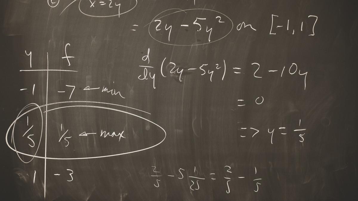 Math formulas on chalk board