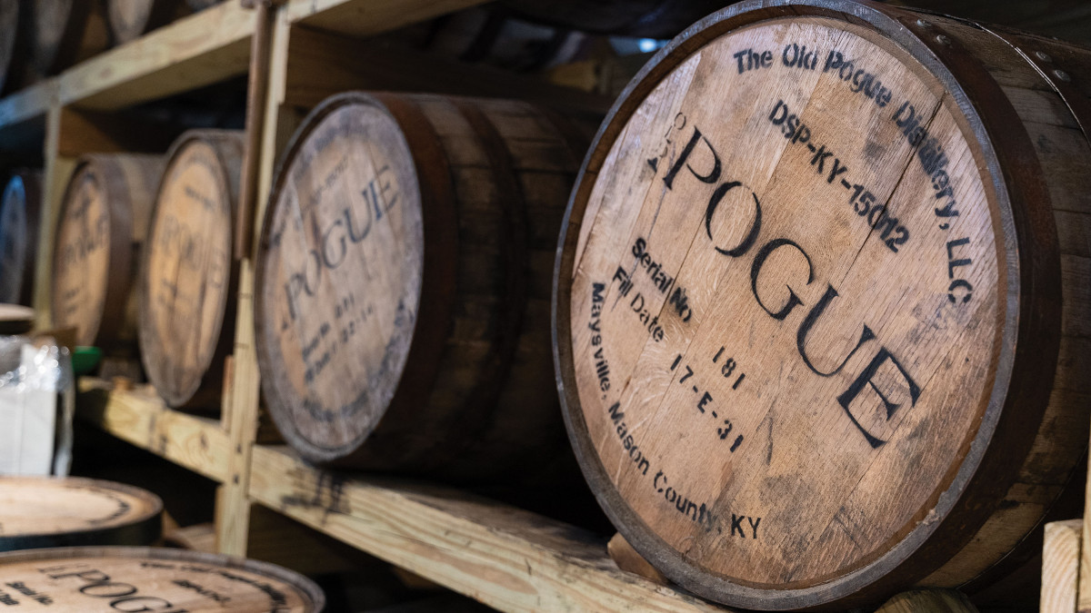 Casks at the Pogue Distillery
