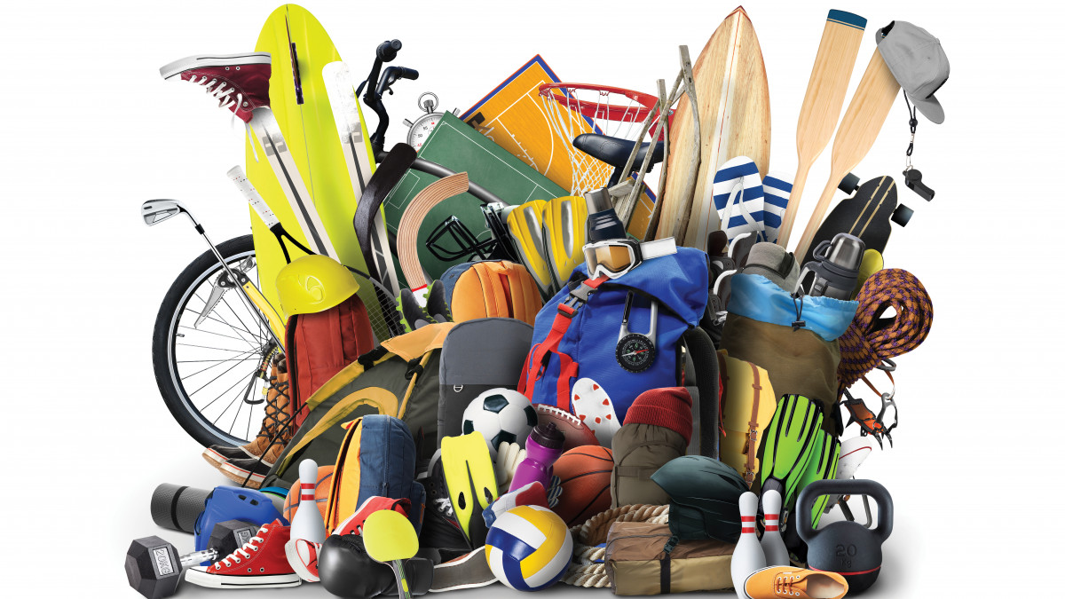 Misc sports equipment arranged in a group