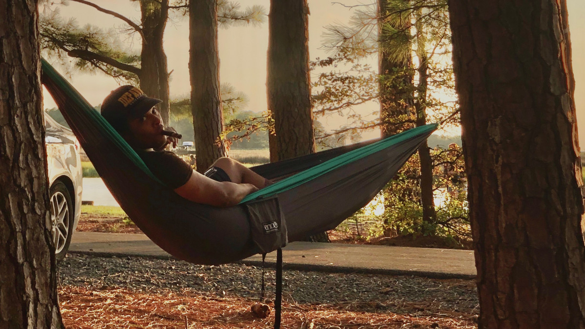 Landon Laven Jones '09 on a hammock