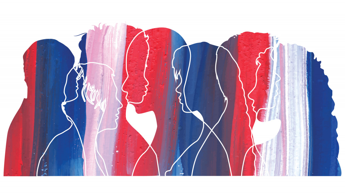 Red, white and blue graphic with line silhouettes of people