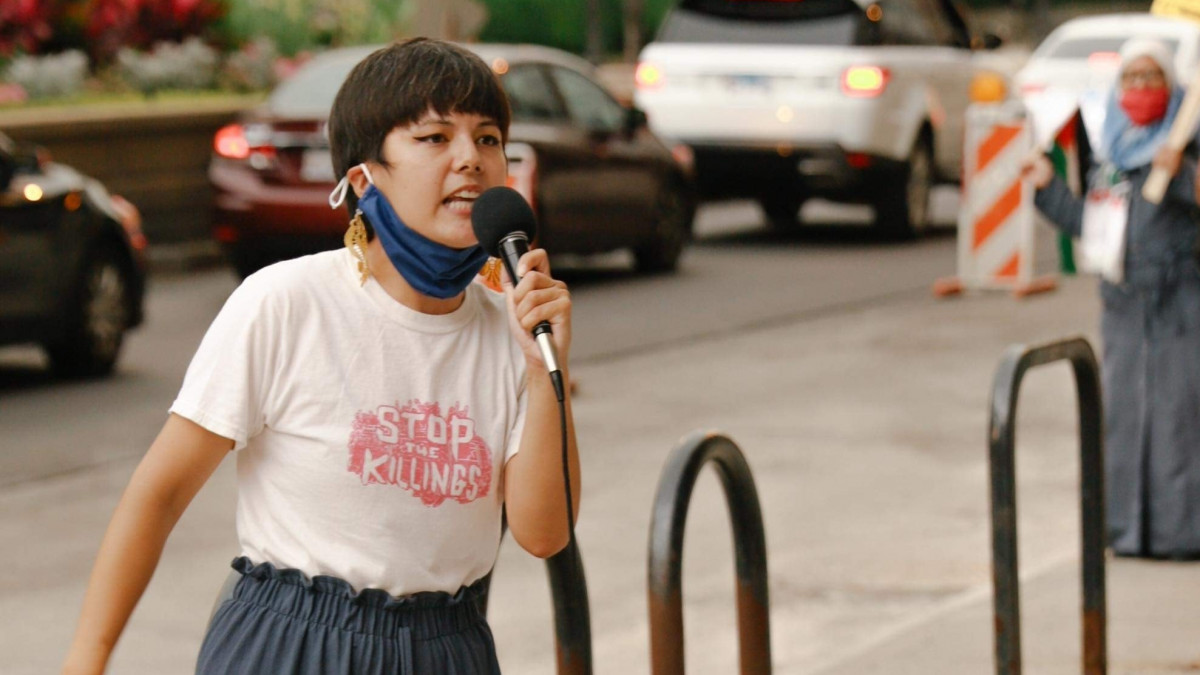 Maya Arcilla at a protest
