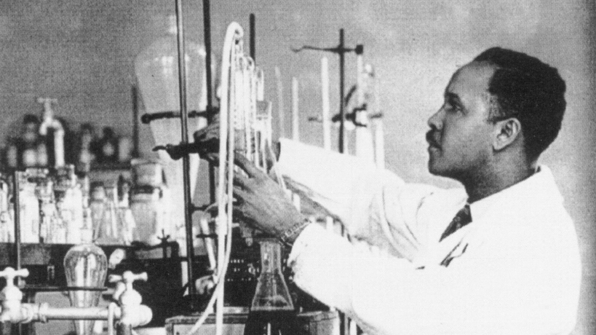 Percy Julian in his laboratory