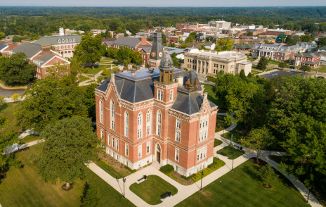 Aerial shot of campus and Greencastle