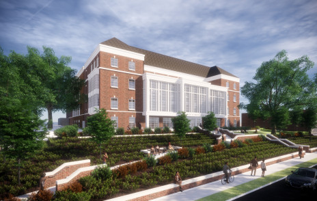 Rendering of exterior of library