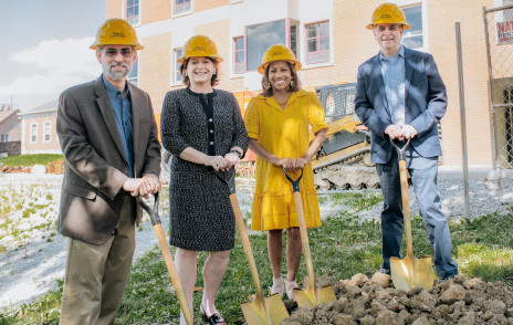 DePauw leaders break ground on library expansion
