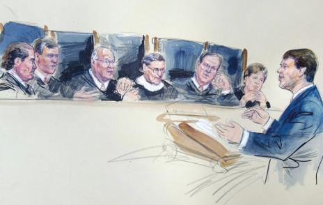 Sketch of Douglas Hallward-Driemeier arguing before the Supreme Court