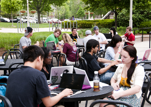 ...and everyone's taking over the Hub patio on an awesome spring day.