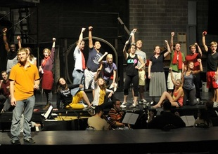 Theatre rehearsal for DePauw's production of the Broadway hit musical